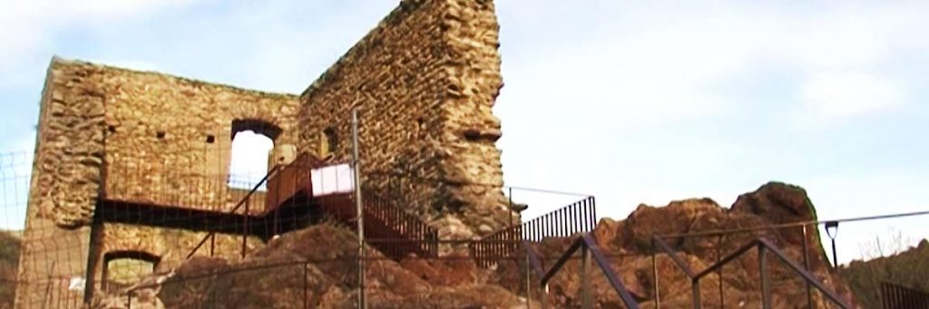 views of part of the inner wall of the castell de ribes or castle of ribes